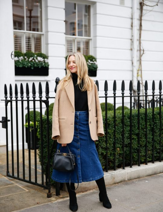 the denim midi skirt